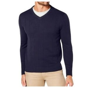 Club Room Mens Textured V Neck Sweater